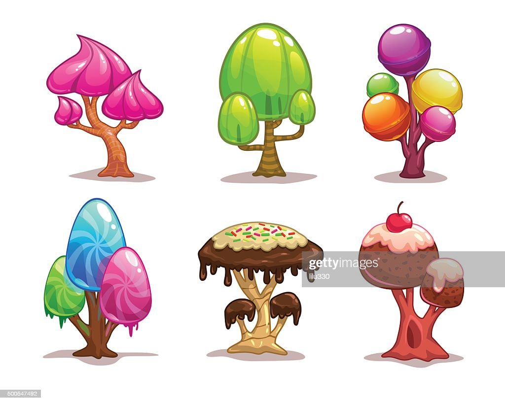 Cartoon sweet candy tree