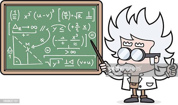 cartoon teacher with a complicated calculation /scientist /professor - professor stock illustrations, clip art, cartoons, & icons