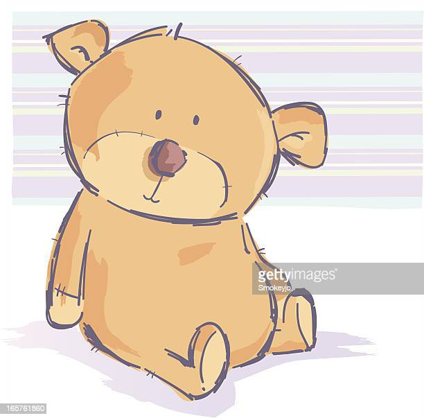 Cartoon teddy bear sitting against a pale striped background