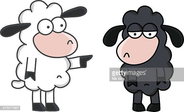 cartoon - the black sheep / mobbing