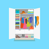 Cartoon Tidy Wardrobe Card Poster on a Blue Background. Vector