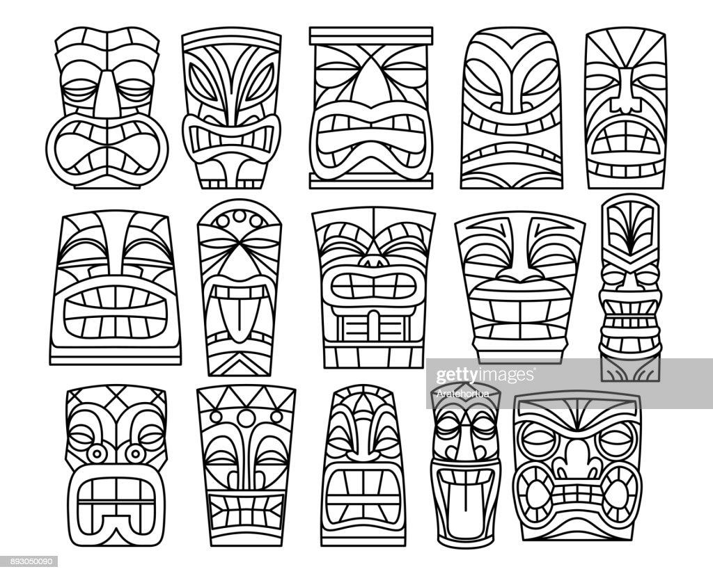 Cartoon Tiki Idol Isolated On White Background