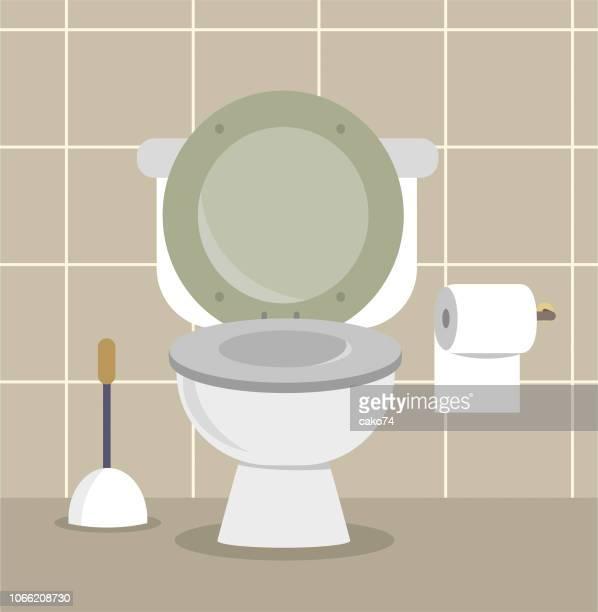 illustrations, cliparts, dessins animés et icônes de bande dessinée illustration de toilette - cuvette des toilettes