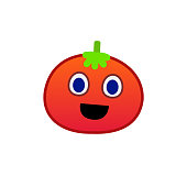 Cartoon tomato face emoji icon design vector.Smile face of tomato character