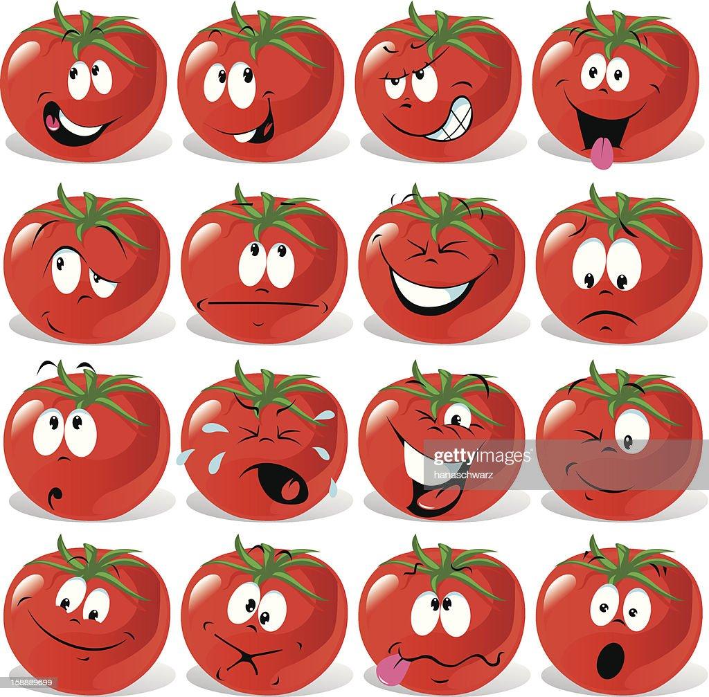 cartoon tomato with many expressions