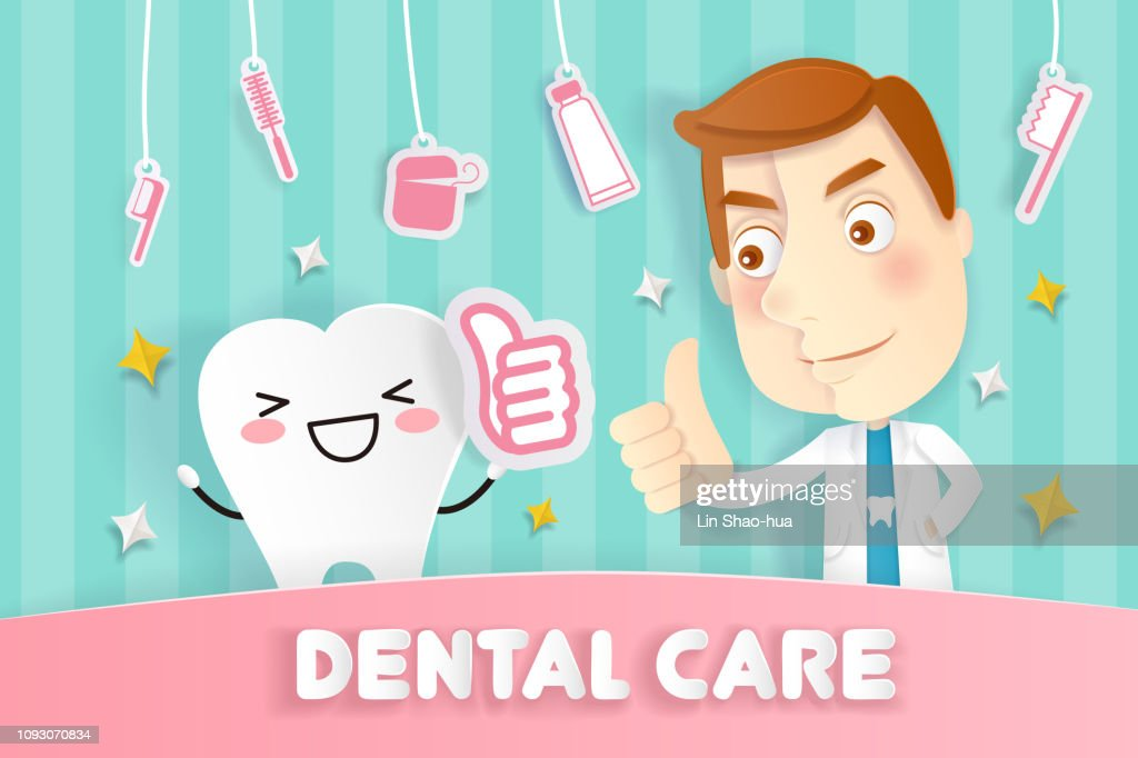 cartoon tooth and doctor