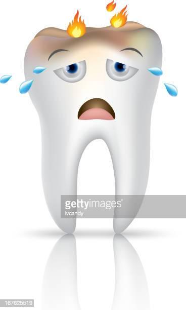 ilustraciones, imágenes clip art, dibujos animados e iconos de stock de diente de historieta llanto - dolordemuelas