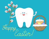 Cartoon tooth holds a willow branch, stands near Easter basket with bread or traditional cake, eggs.