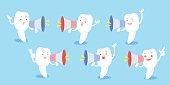 cartoon tooth take microphone