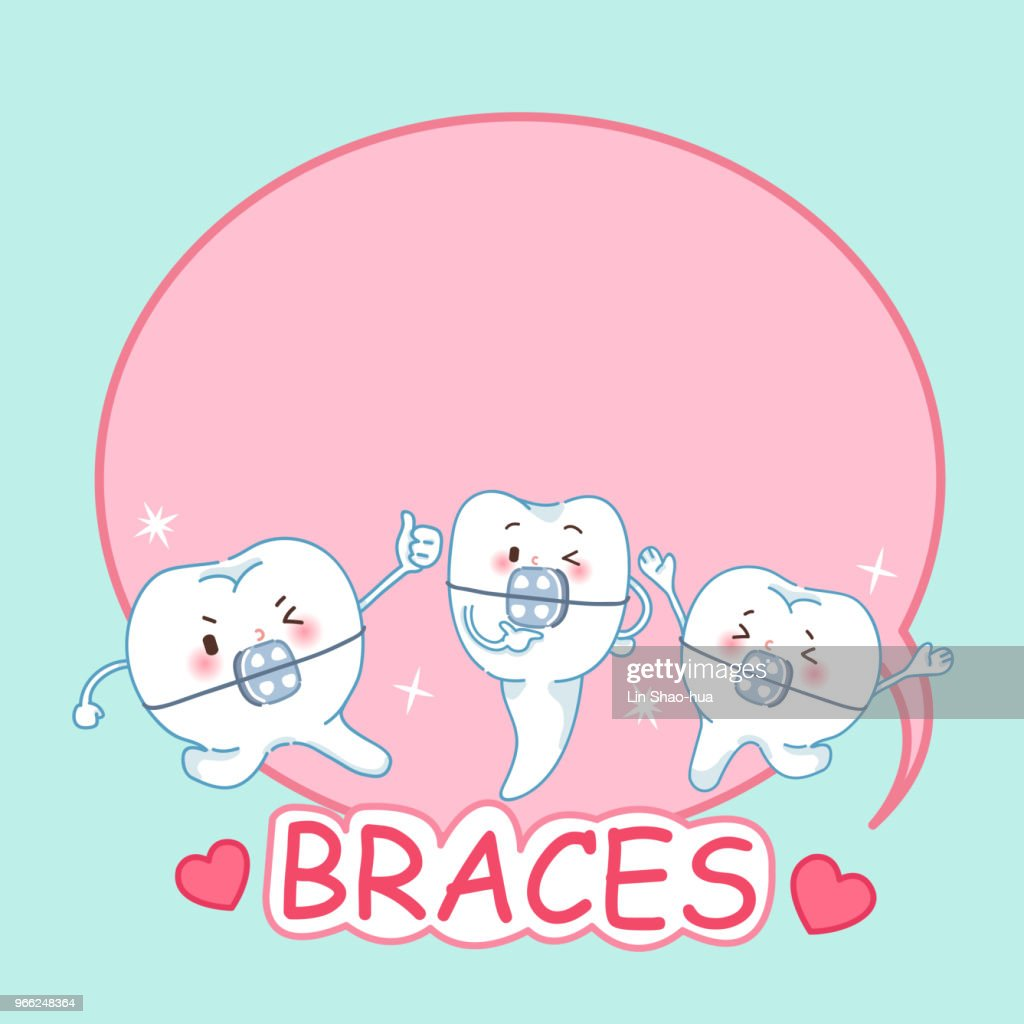 cartoon tooth with braces