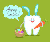 Cartoon tooth with bunny ears holds a carrot and basket with eggs.