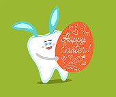 Cartoon tooth with bunny ears holds an Easter egg with greetings and drawings.