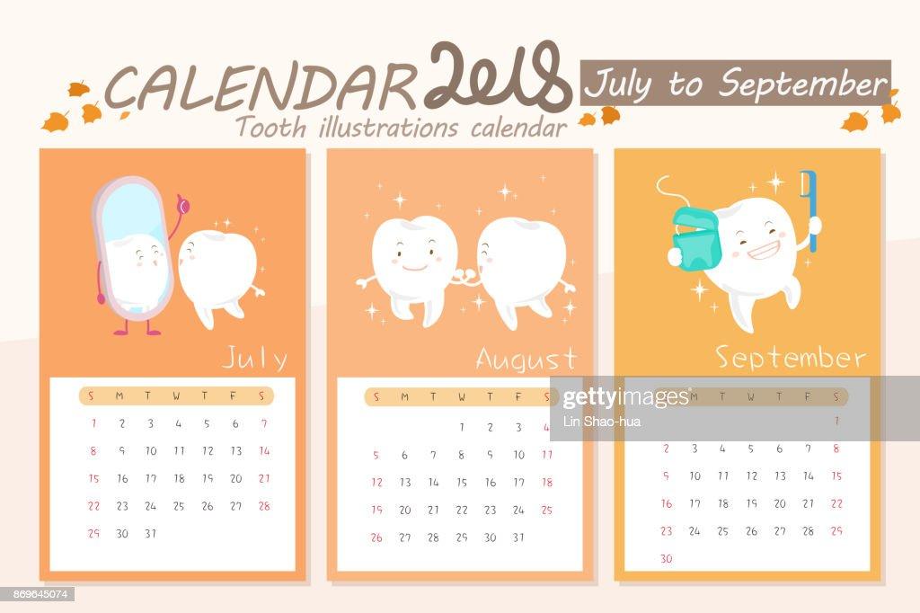 cartoon tooth with calendar