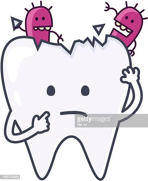 ilustraciones, imágenes clip art, dibujos animados e iconos de stock de historieta con caries dental - dolor de muelas
