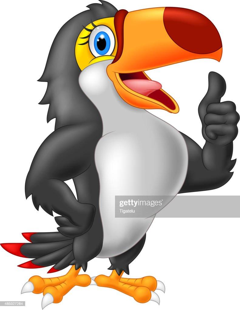 Cartoon toucan gives thumb up.