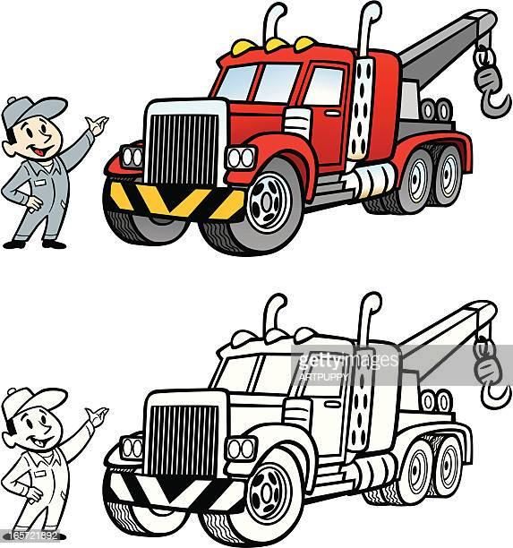 illustrations, cliparts, dessins animés et icônes de cartoon camion de remorquage - chauffeur routier