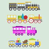 Cartoon toy train vector railroad and cartoon carriage game fun leisure joy gift locomotive transportation