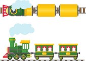 Cartoon toy train with colorful blocks, vector set.