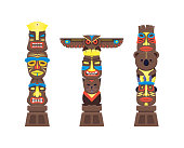 Cartoon Traditional Religious Totem Color Columns Set. Vector