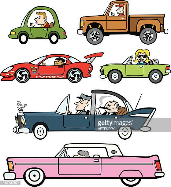Cartoon Traffic Cars and Trucks