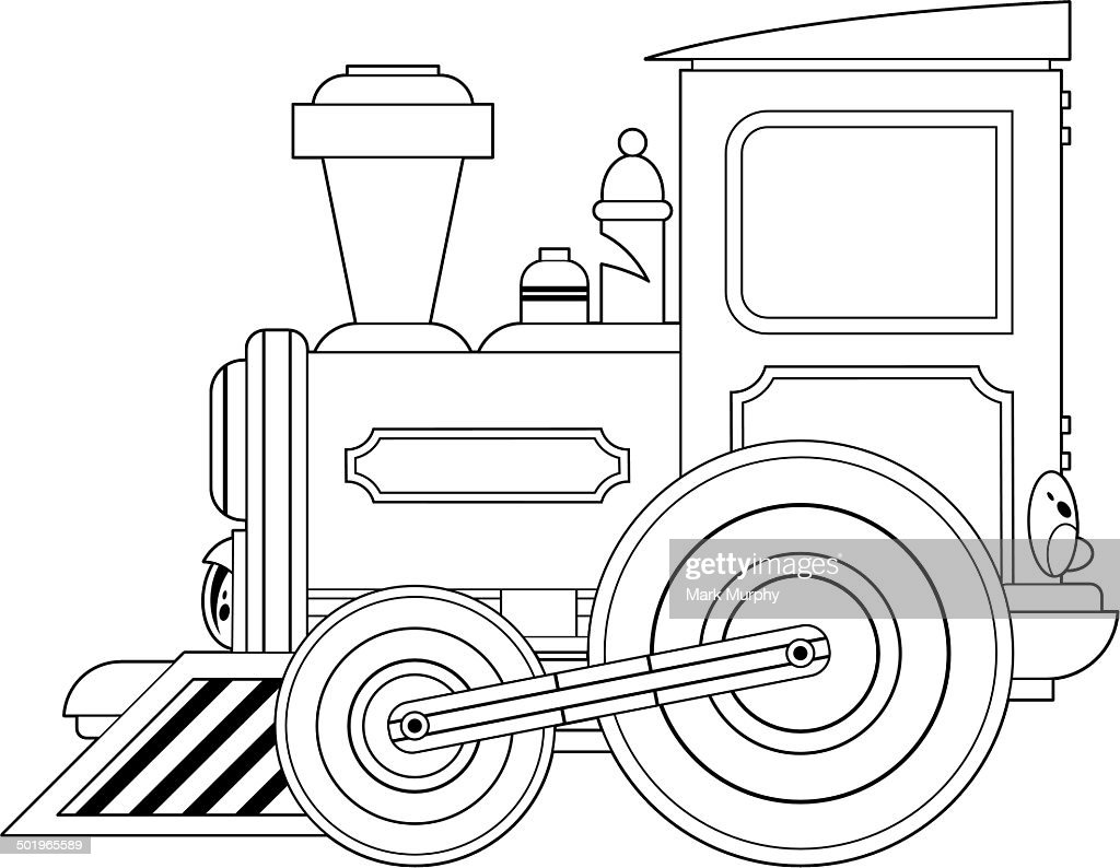 Cartoon Train Engine Outline Vector Art Getty Images