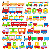 Cartoon Train Toy Children Signs Icon Set. Vector