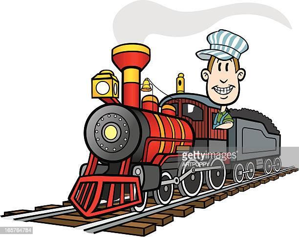 cartoon train - locomotive stock illustrations