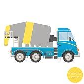 Cartoon transport. Mixer truck vector illustration. View from side.