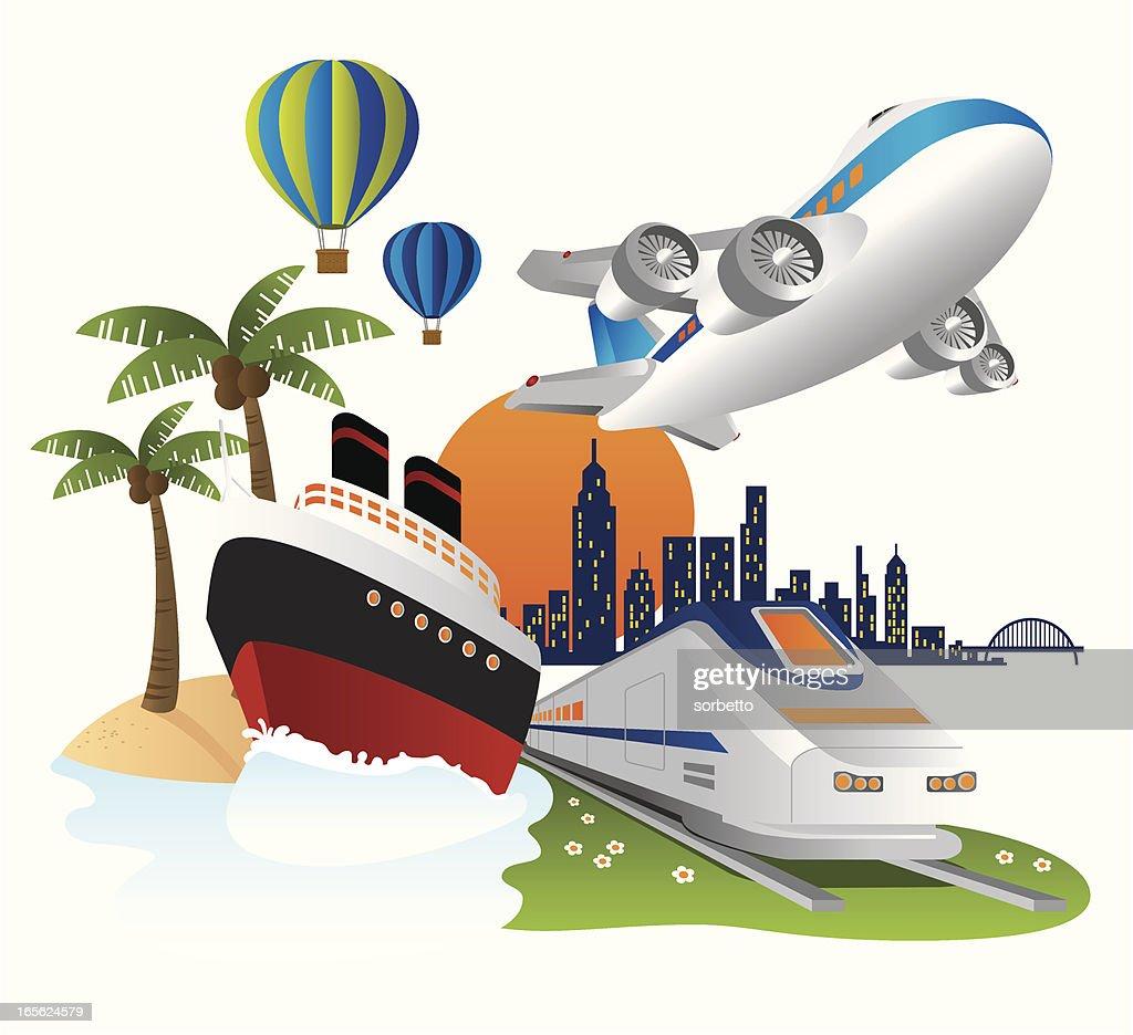 Cartoon travel poster featuring different transport tools : stock illustration