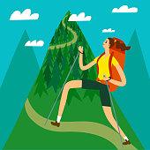 Cartoon traveler girl climbing the mountain.