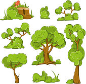 Cartoon trees and bushes vector set
