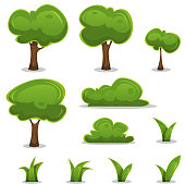 Cartoon Trees, Hedges And Grass Leaves Set