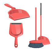 Cartoon trendy cleaning service icons set. Modern red plastic broom and different  dustpans.