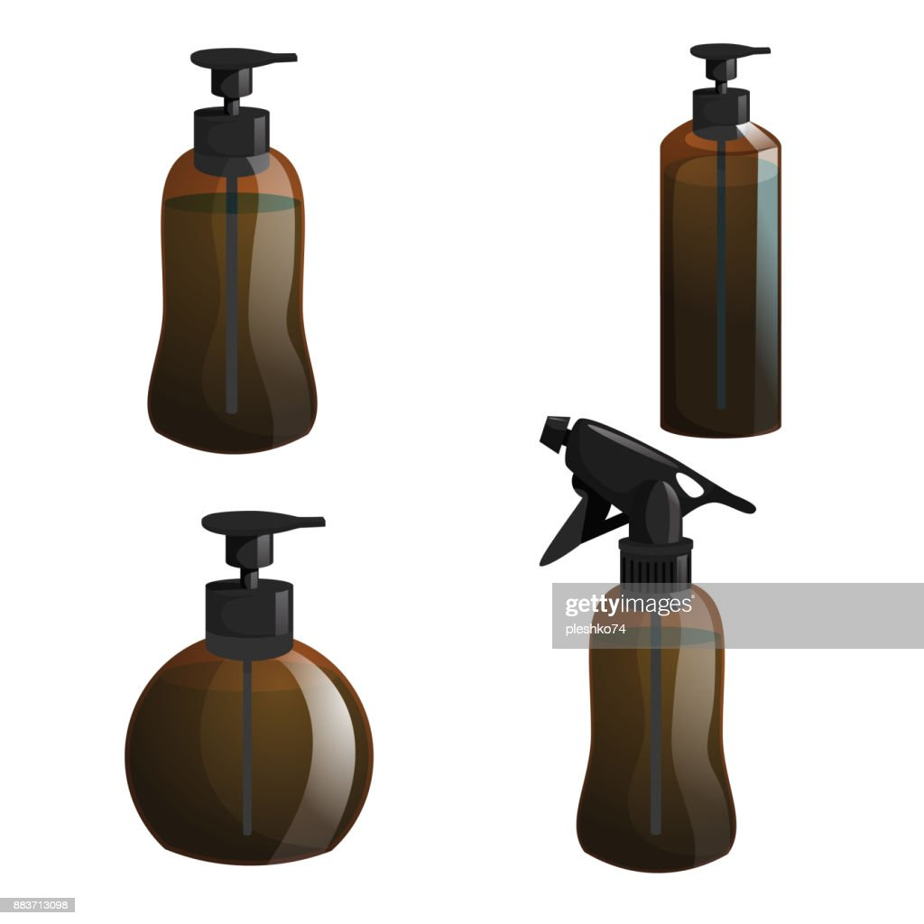 Cartoon trendy design hair styling equipment tool set. Brown figure bottles with spray for hair moistening and gel different shapes containers. Vector barber shop illustration icon collection.