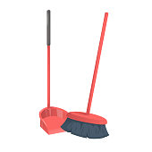 Cartoon trendy style red dustpanwith stick and brushed broom. Cleanup and hygiene vector icon illustration.