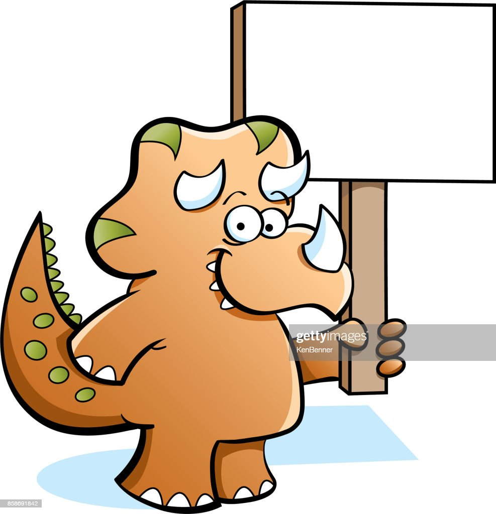 Cartoon Triceratops holding a sign.
