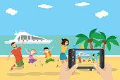 Cartoon tropical beach,