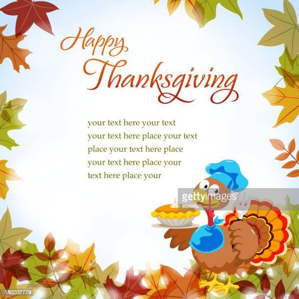 cartoon turkey in thanksgiving notice - meat pie stock illustrations