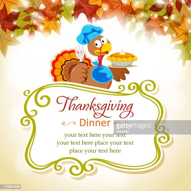Cartoon Turkey in Thanksgiving Place Card