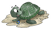 Cartoon Turtle wearing an evil eye amulet around his neck