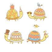 Cartoon turtles set.