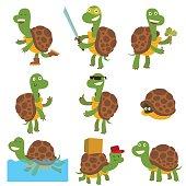 Cartoon turtles vector set.