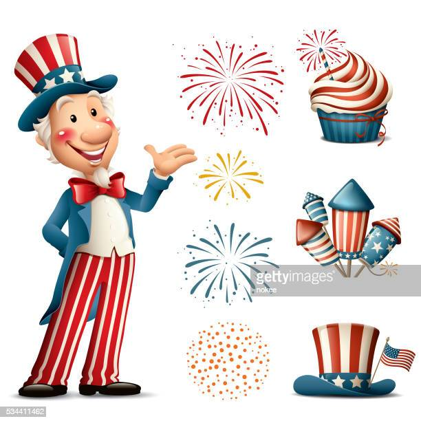 Cartoon Uncle Sam - fourth of july set