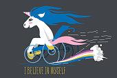 Cartoon unicorn on a wheelchair
