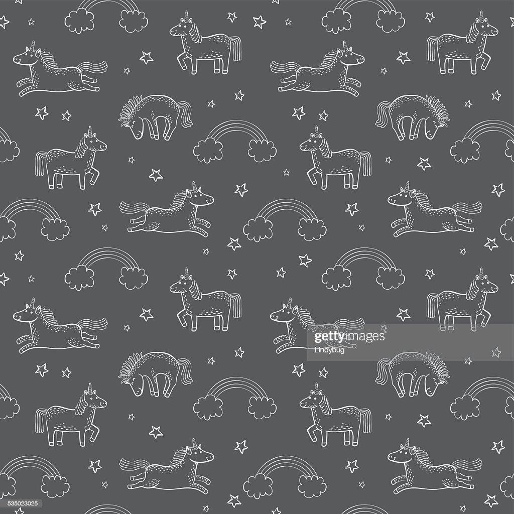 Cartoon Unicorn Wallpaper or Gift Wrap