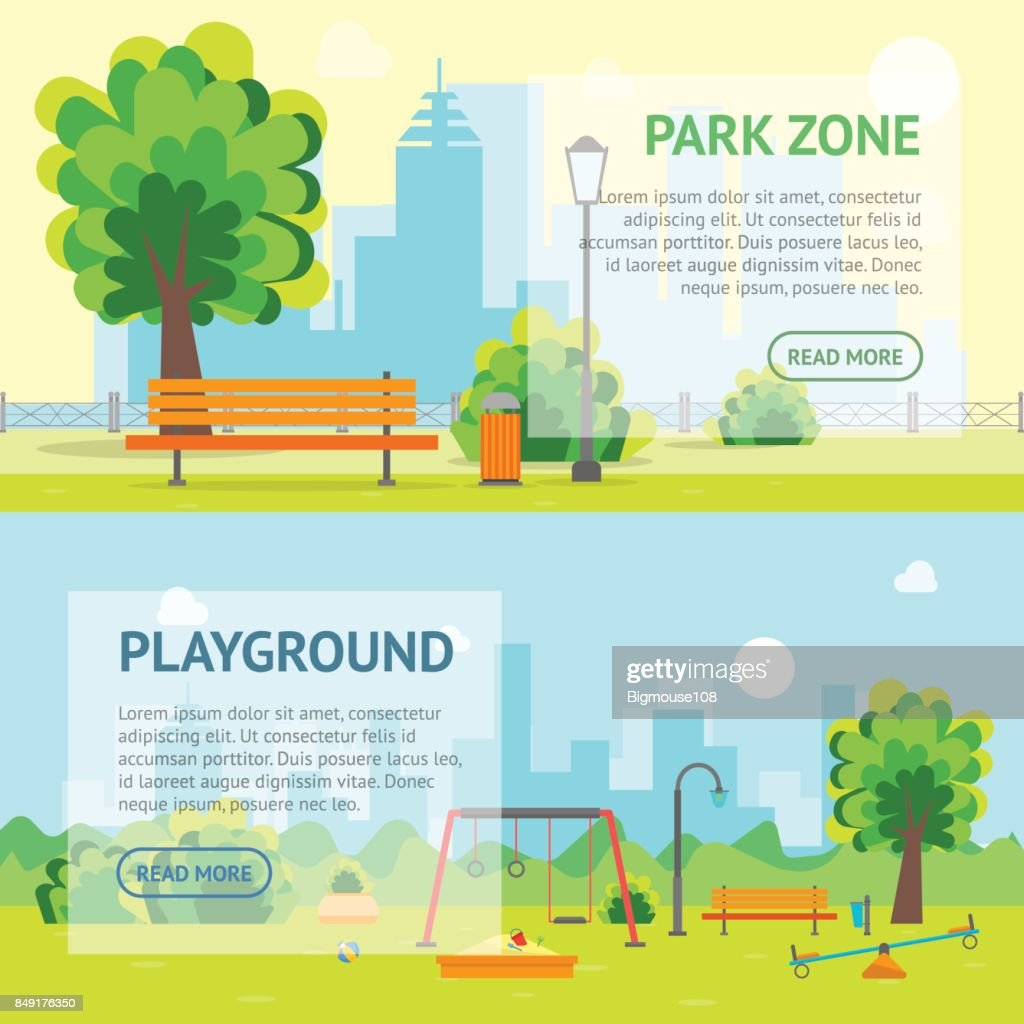 Cartoon Urban Park and Kids Playground Banner Card. Vector