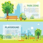 Cartoon Urban Park and Kids Playground Banner Card. Vector