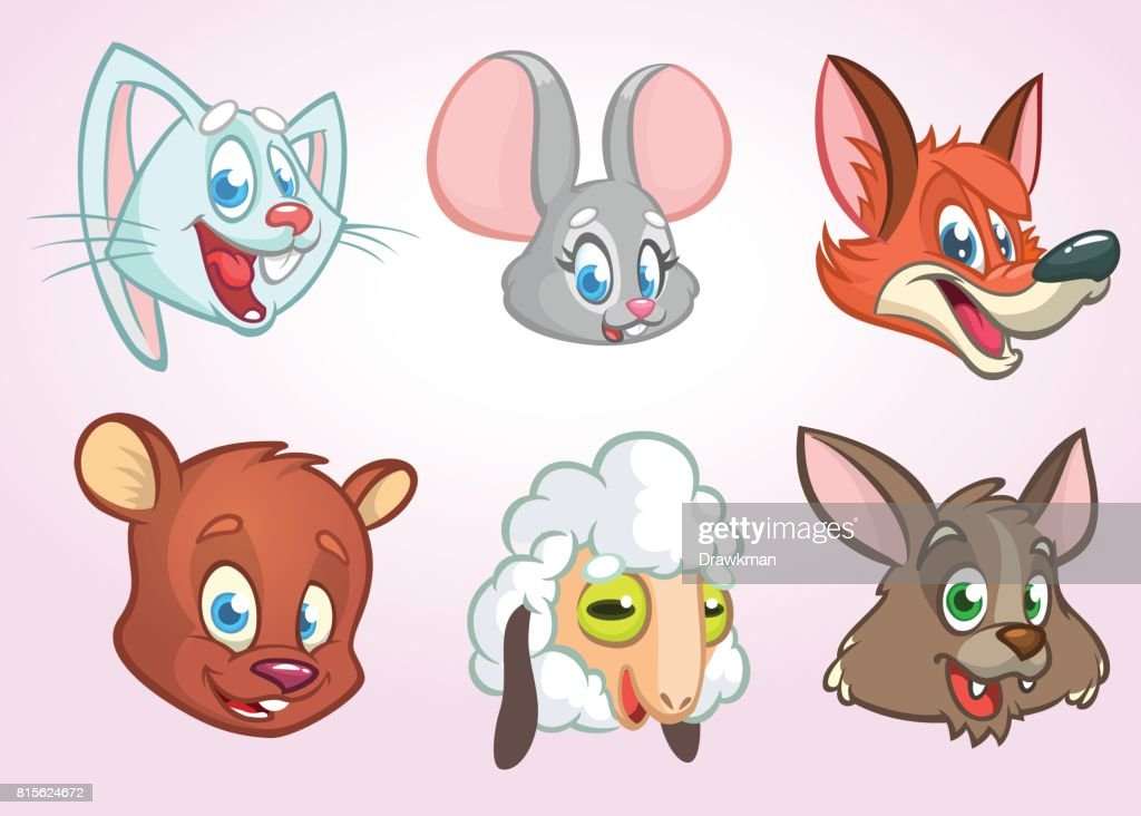 Cartoon vector animal head icons. Vector set of wild and farm animals including bunny rabbit, mouse, fox, bear, sheep and wolf. Illustrations solated on white.