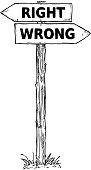 Cartoon Vector Direction Sign with Two Decision Arrows Righ and Wrong