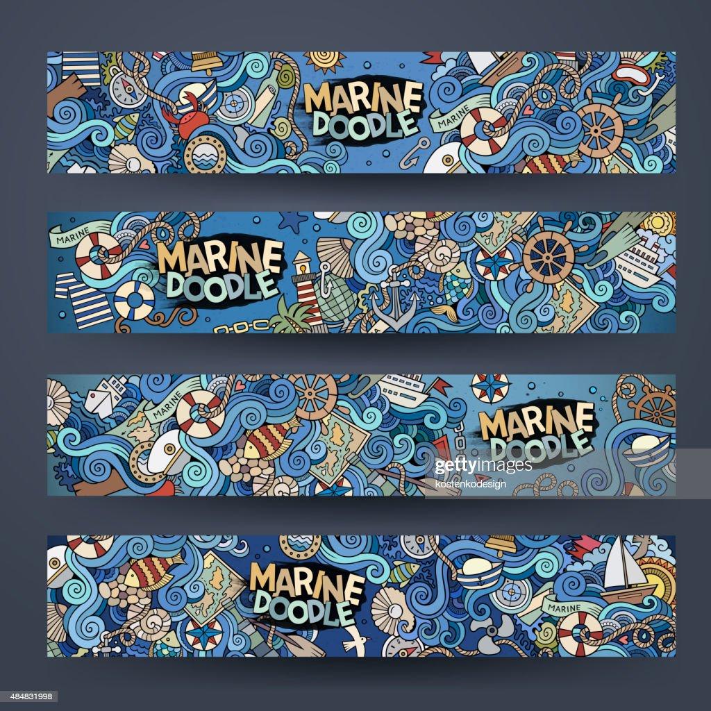 Cartoon vector Doodle nautical marine banners design